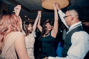 Students dancing wildly at the prom