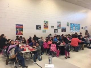 Students at Shuford enjoying breakfast