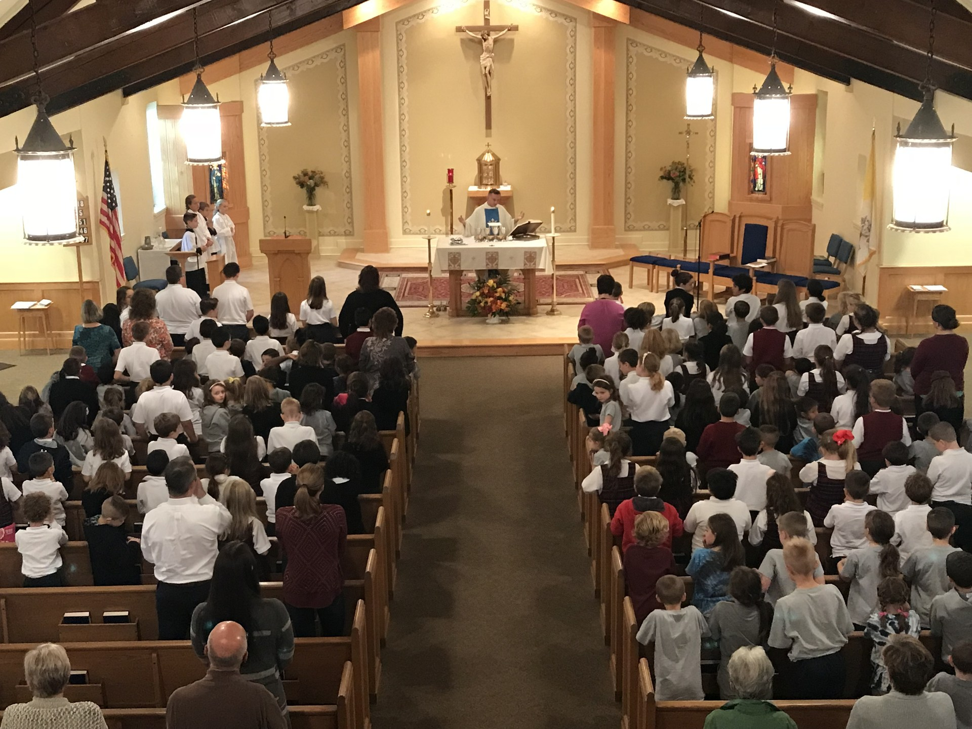 View of Reverend Brown mass taking place