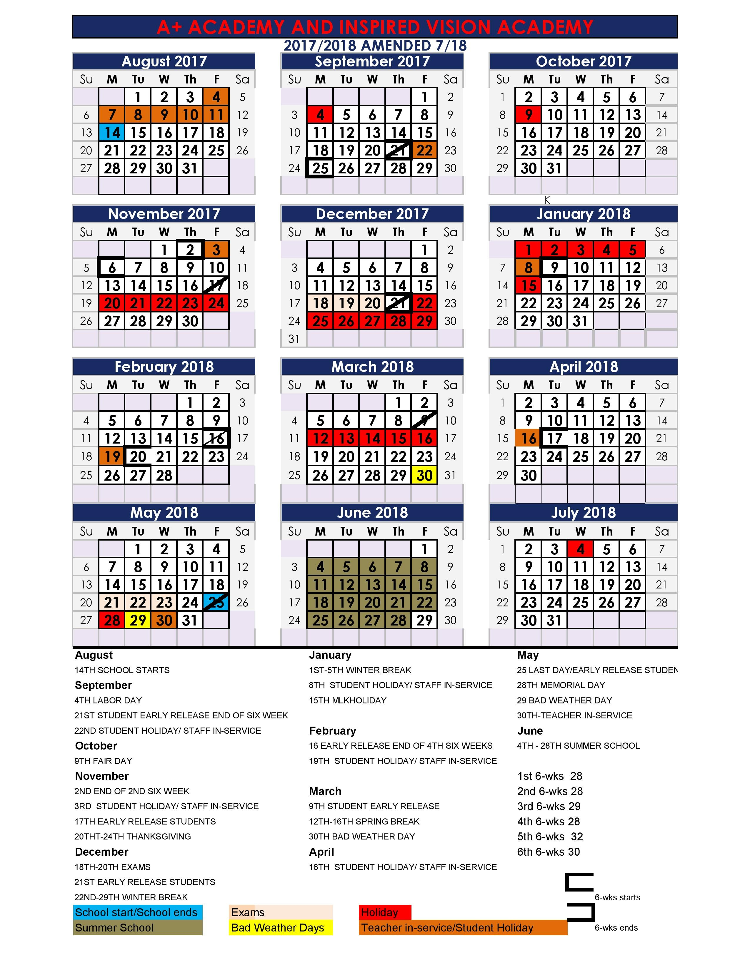 district calendar 2017 2018 - When Does School Start After Christmas Break