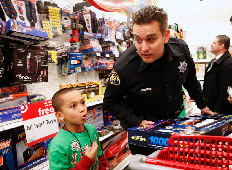 Cop and Santee student shopping at Target.