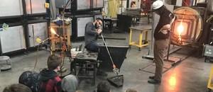 Keshequa 8th graders observe glass blowing.