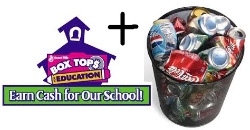 Boxtops for schools with trash full of cans