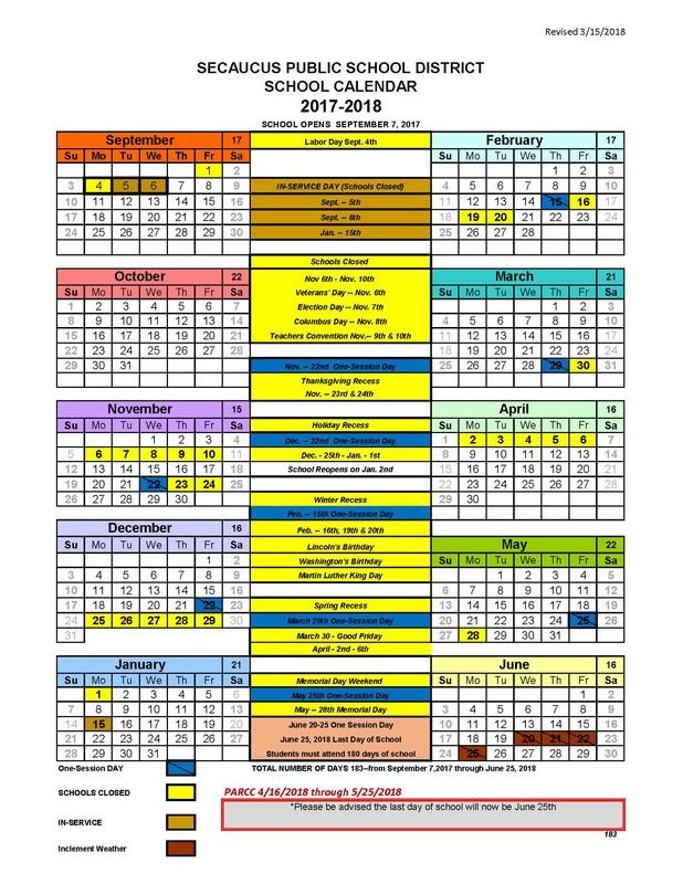 Revised School Calendar Thumbnail Image