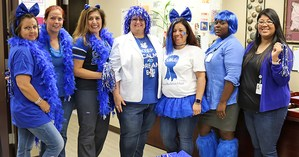 Jennie Reid faculty dressed in blue to commemorate National Blue Ribbon School selection
