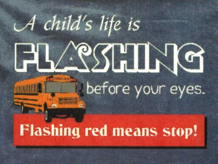 Photo of school bus with explanation that flashing red lights means stop.