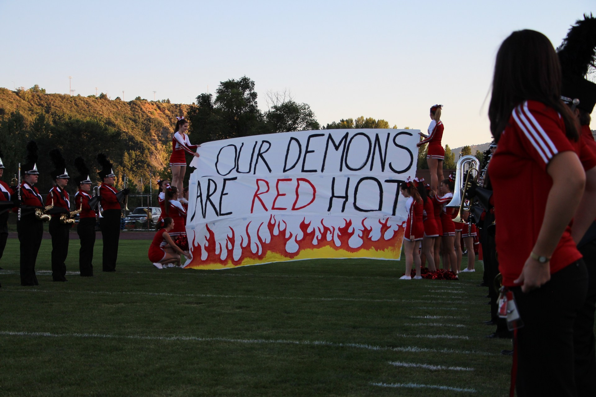 Image of the entry banner for the Football team at DHS