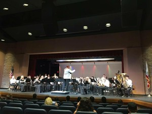 Hemet High School's band playing at a concert.