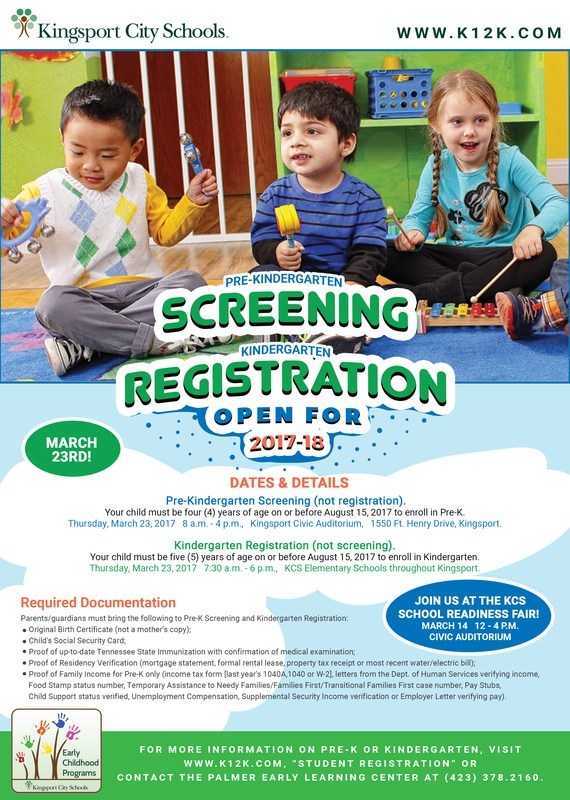 Pre-K Screening / Kindergarten Registration flyer