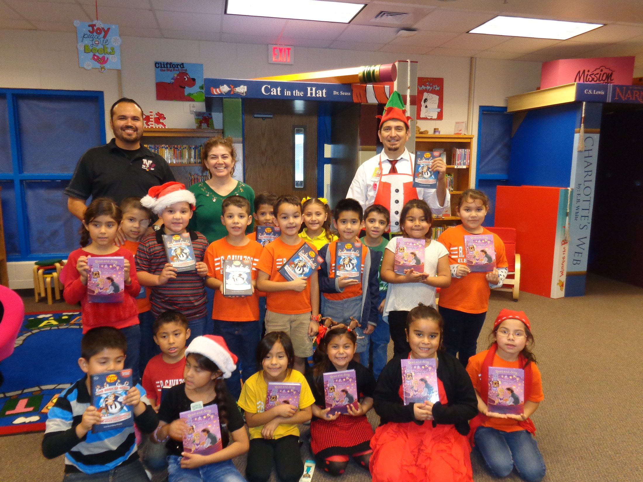 students with book give-a-ways