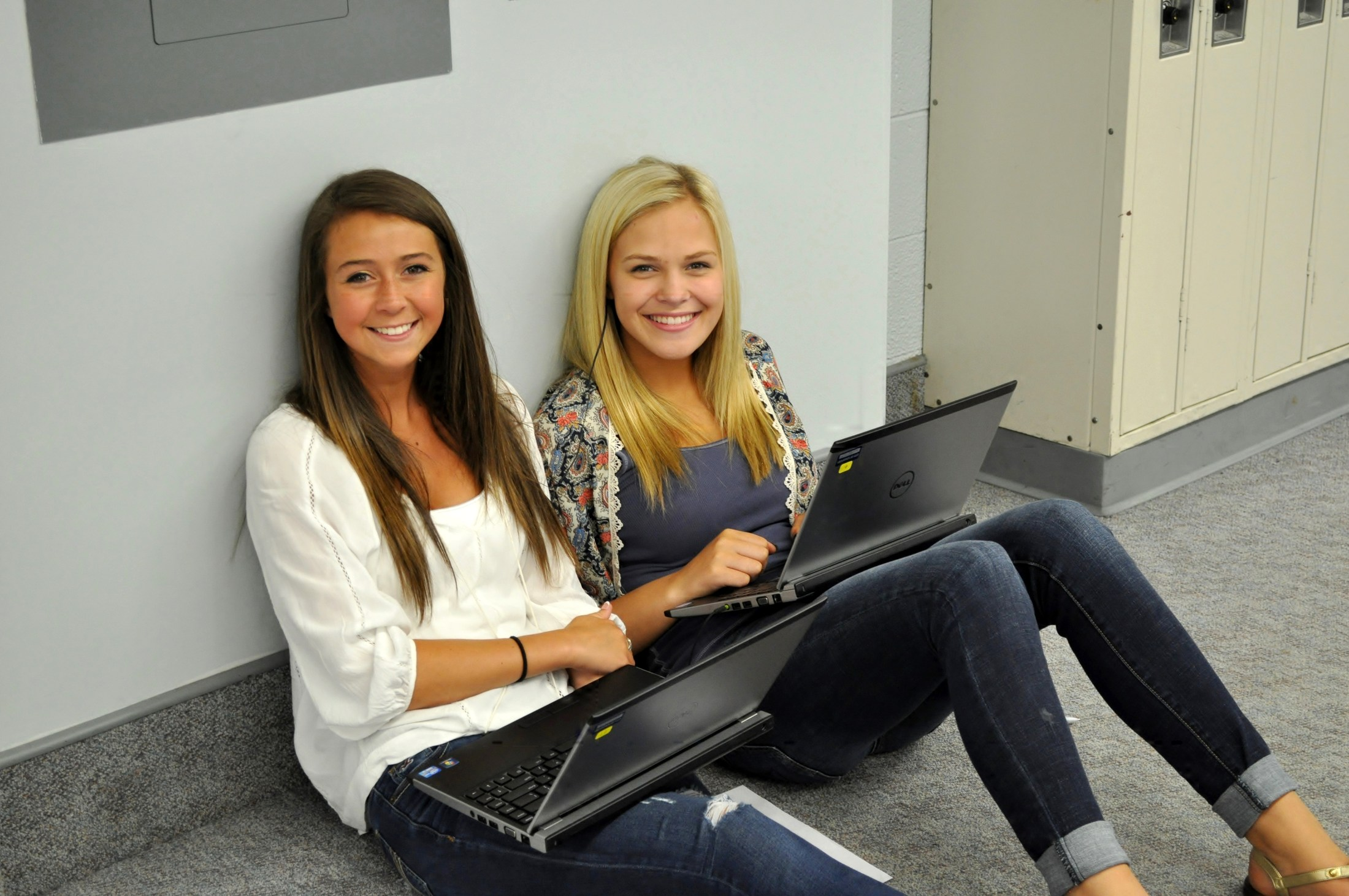 Students working on laptops