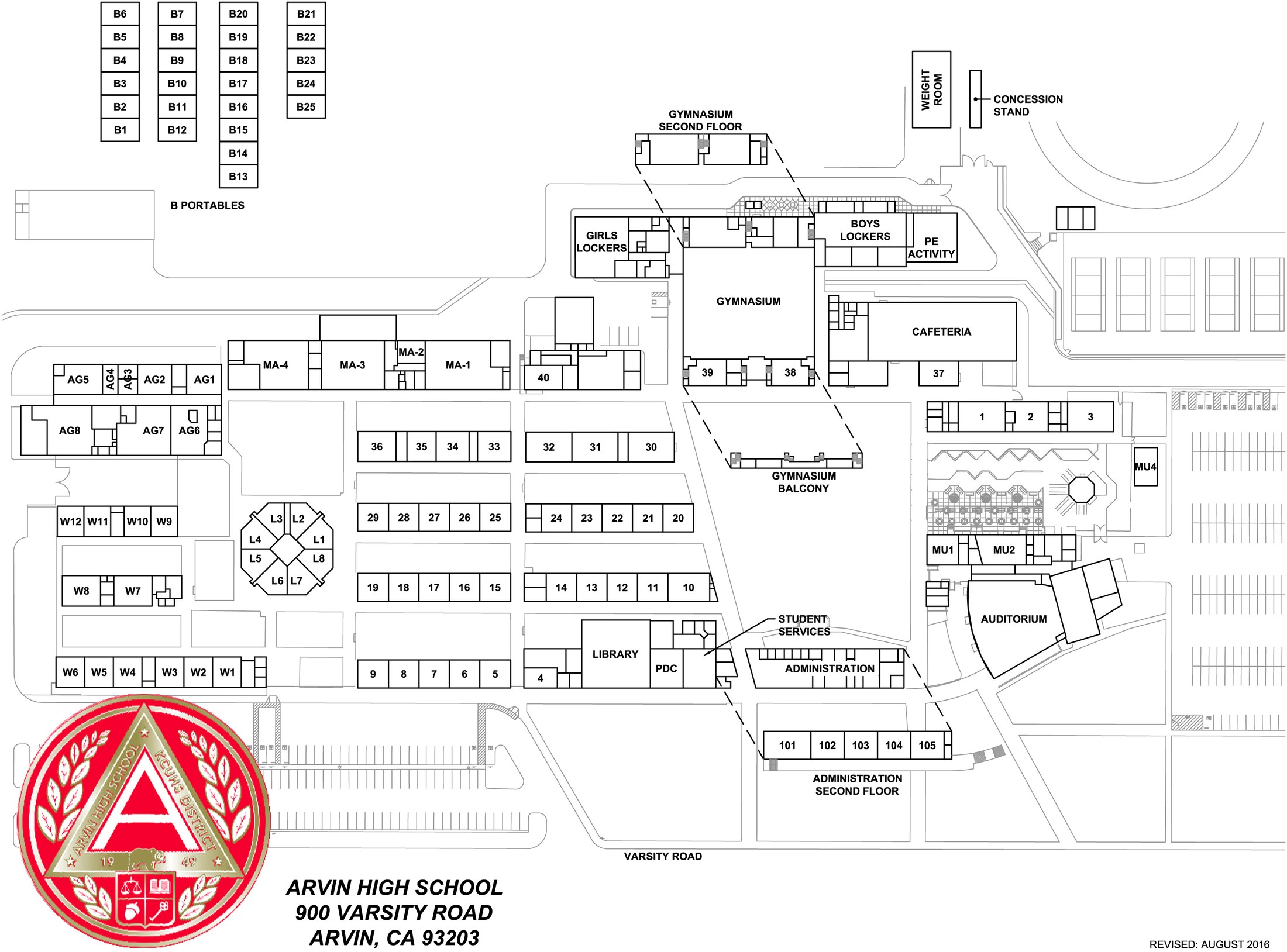 Arvin High Campus Map