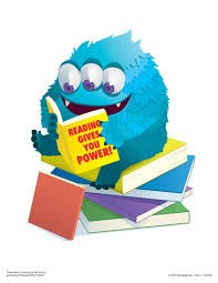 Blue monster sitting on a pile of Books reading