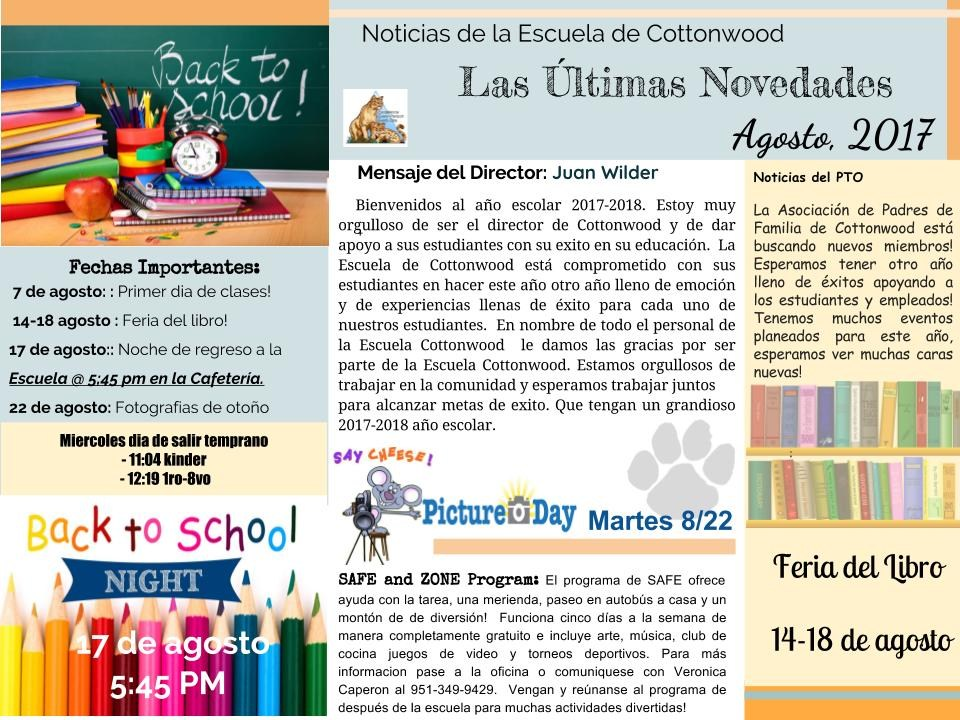 The August newsletter in Spanish.