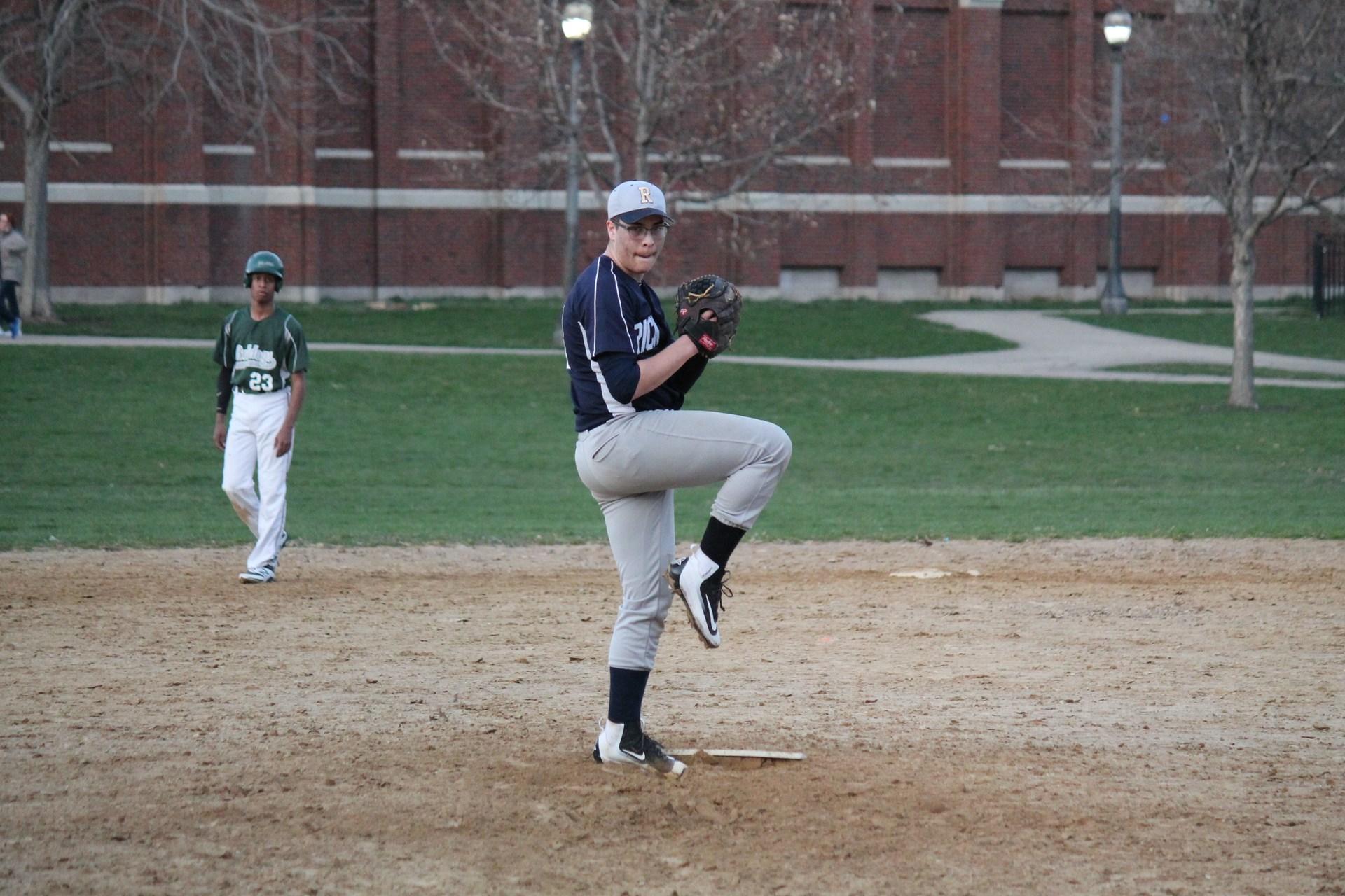 Rickover cadet preparing to pitch a baseball