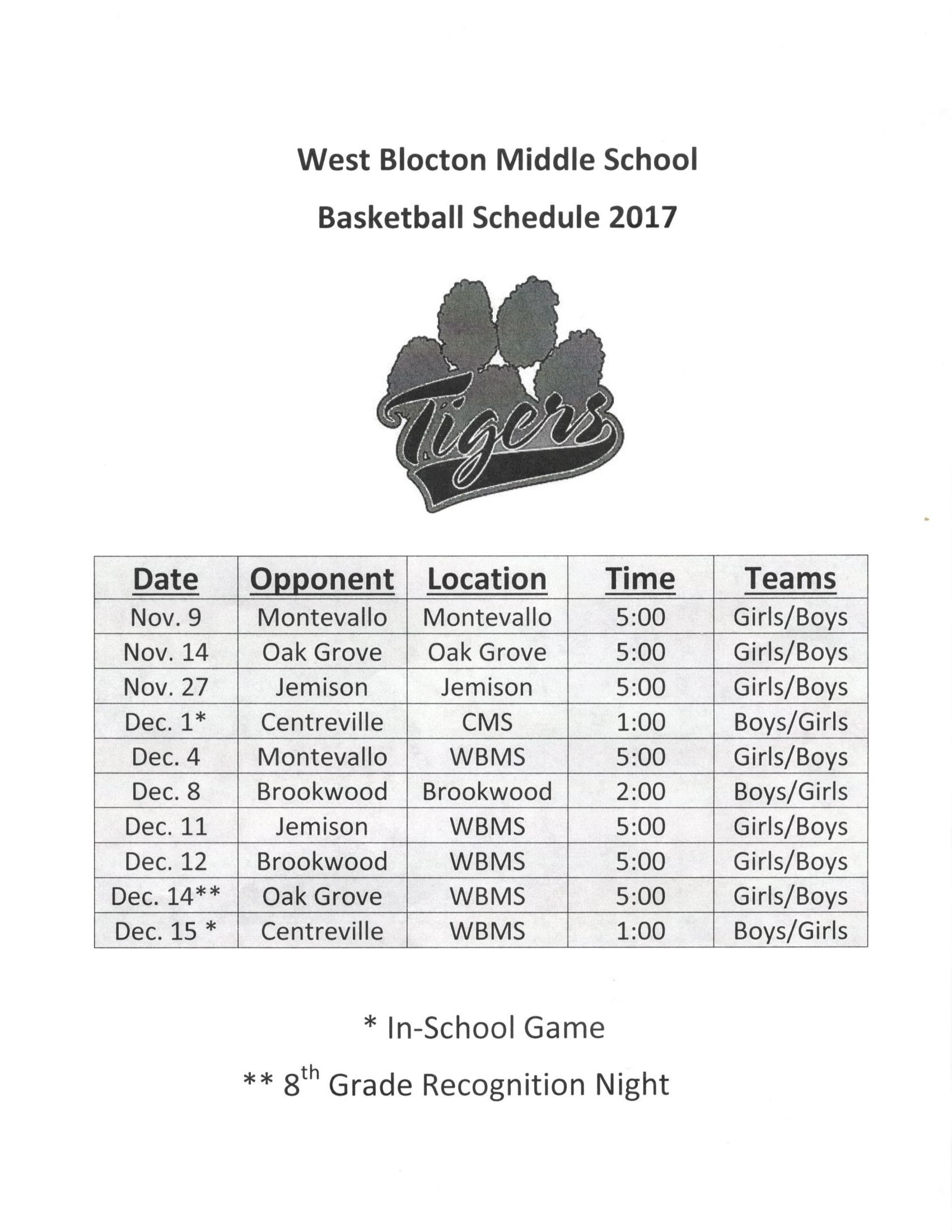 2017-2018 Girls Basketball Schedule