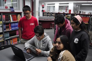 Students in Sierra Vista High School teacher Maggie Santiago's English class explore one of the library's five new tech-infused collaboration centers unveiled Dec. 8.