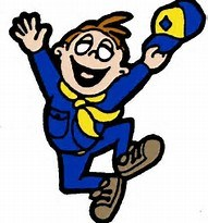 BOY IN CUB SCOUT SUIT JUMPING FOR JOY AND MAKING THE PEACE SIGN WITH HAND