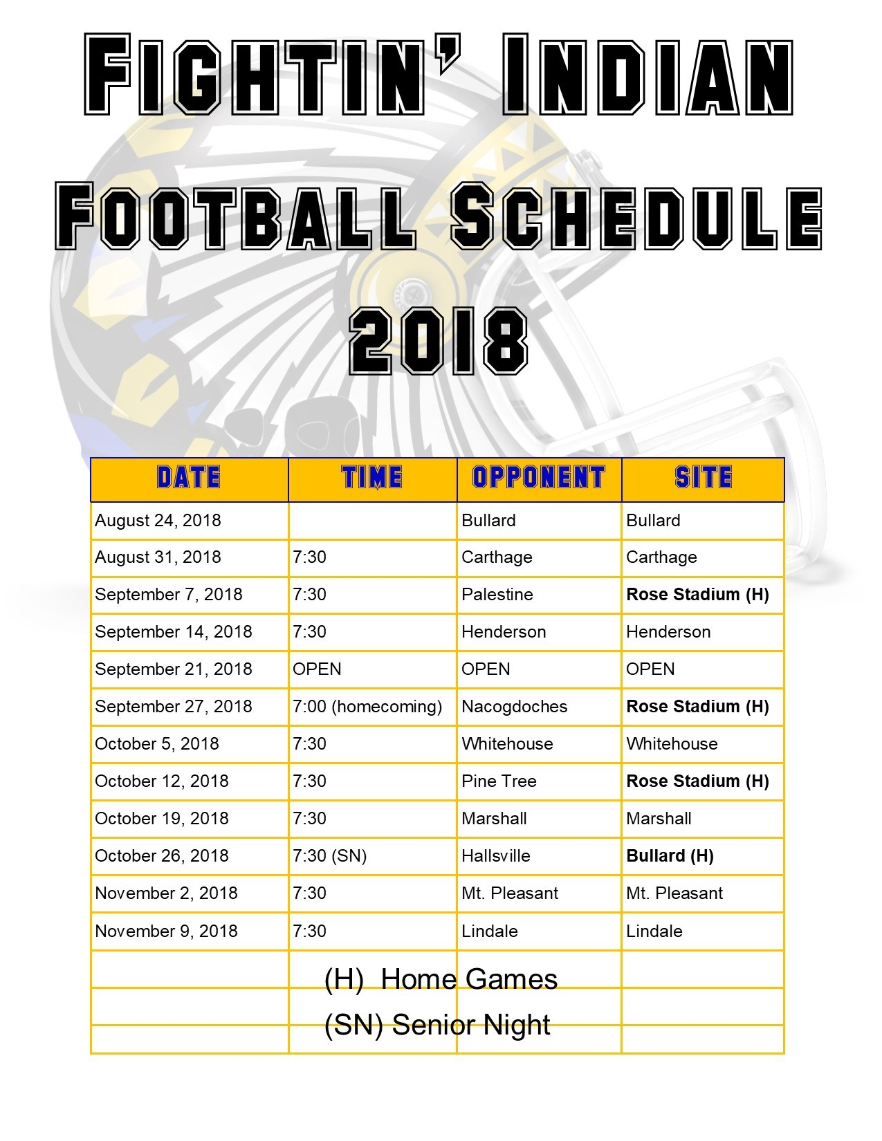 list of the football schedule for 2018 and a helmet in the background