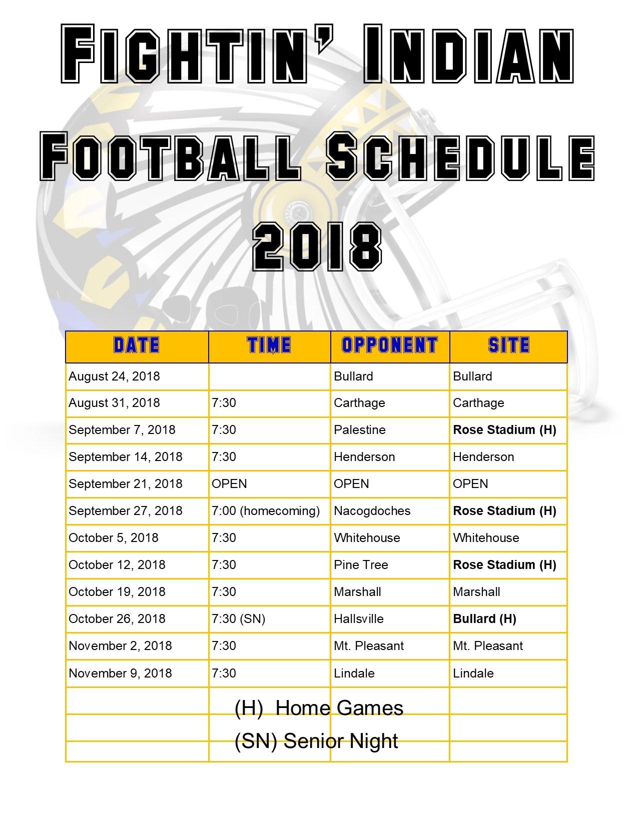 2017 18 College Football Bowl Schedule >> Varsity Schedule – 2018 Football Schedules – Jacksonville ISD