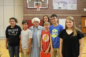 Holocaust survivor and kids pic