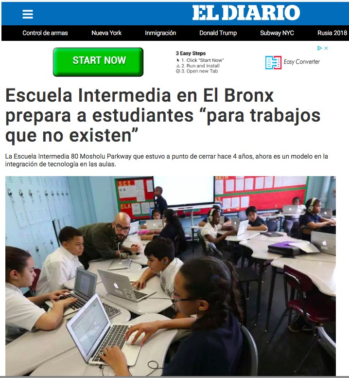 Screenshot of the article on Diario.com. Teacher with students, working on computers.