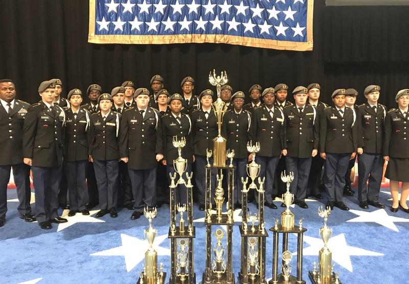 Airport High's Golden Talon drill team