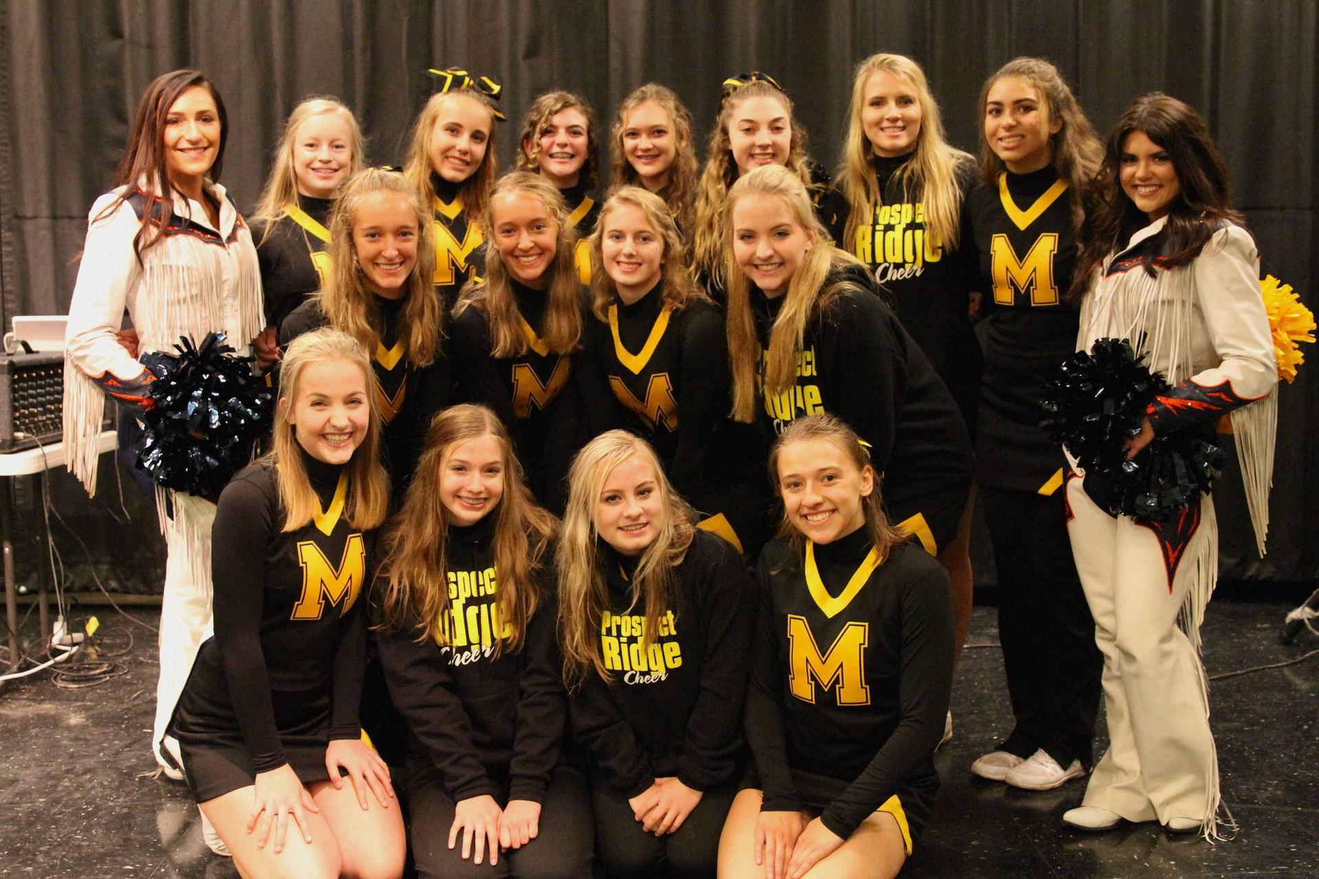 PRA cheerleaders with Broncos cheerleaders