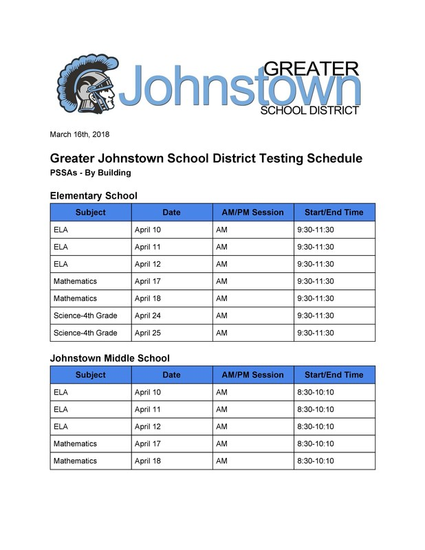 Page 1 of the 2017-18 PSSA testing schedule