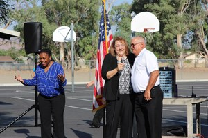 Estudillo Elementary Principal Sonya Scott handed over the microphone to guest principals Dee and Scott Cozart for the weekly pep assembly.