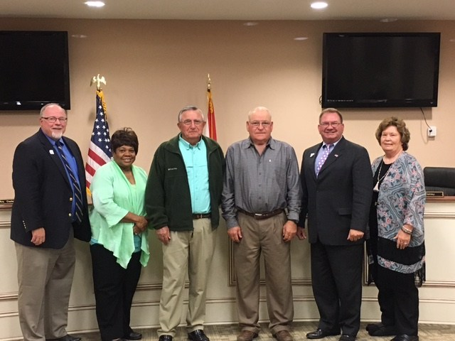 L-R Superintendent-Duane McGee, Elaine Jones, Morris Moody, Mike McMillan, Mike Oakley, and Billie Dailey