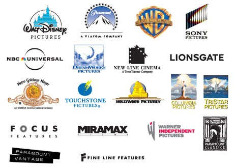 Walt Disney, Paramount, Warner Brothers, SONY, NBC, Dream Works Pictures, New Line Cinema, LIONSGATE, Metro Goldwyn Mayer, Touchstone Pictures, Hollywood Pictures, Columbia Pictures, Tri-Star Pictures, Focus Features, Miramaz, Warner Independent Pictures, Paramount Classics, Paramount Vantage and Fine Line Features