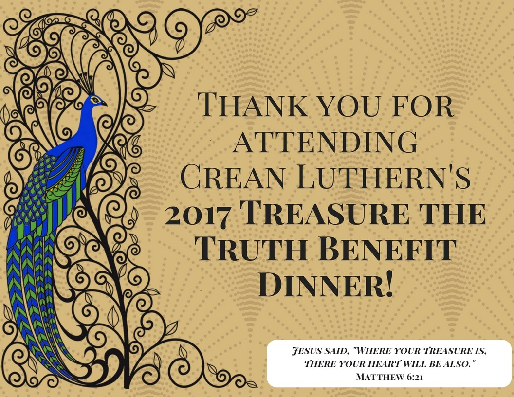 Thank You for Attending the 2017 Treasure the Truth Benefit Dinner