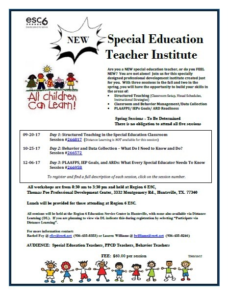 Information about the New Special Education Teacher Institute