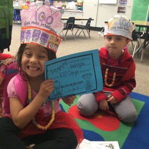 Proud students on the 100th day of school