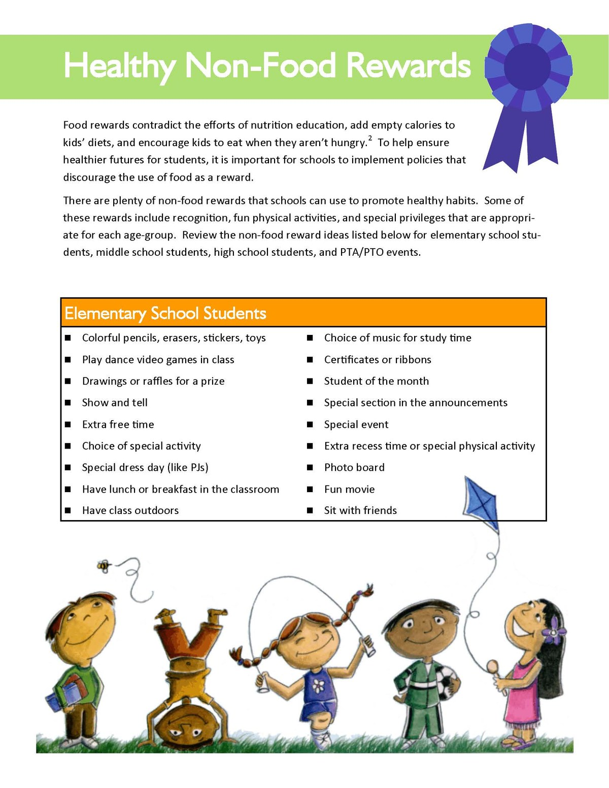 Healthy reward ideas for students in the classroom part 1