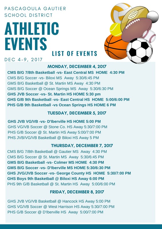 Athletic Events for Week of December 4, 2018