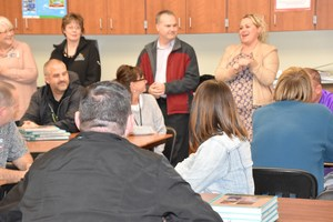 School Board President, Charlotte Layman, thanking EVC staff for their hard work.