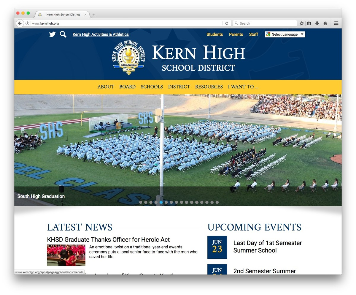 Kern High Website Screenshot