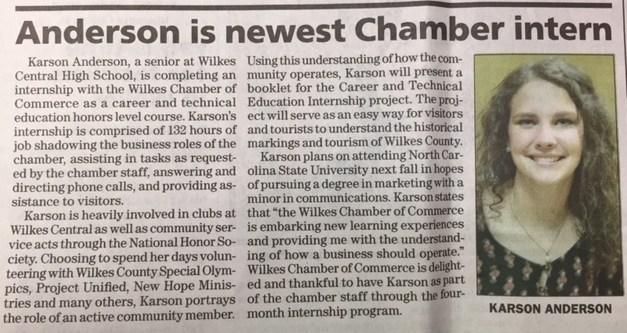 Newspaper article of Karen Anderson