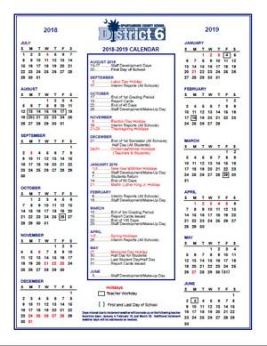 2018-2019 District 6 Calendar