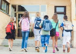 children going into a school
