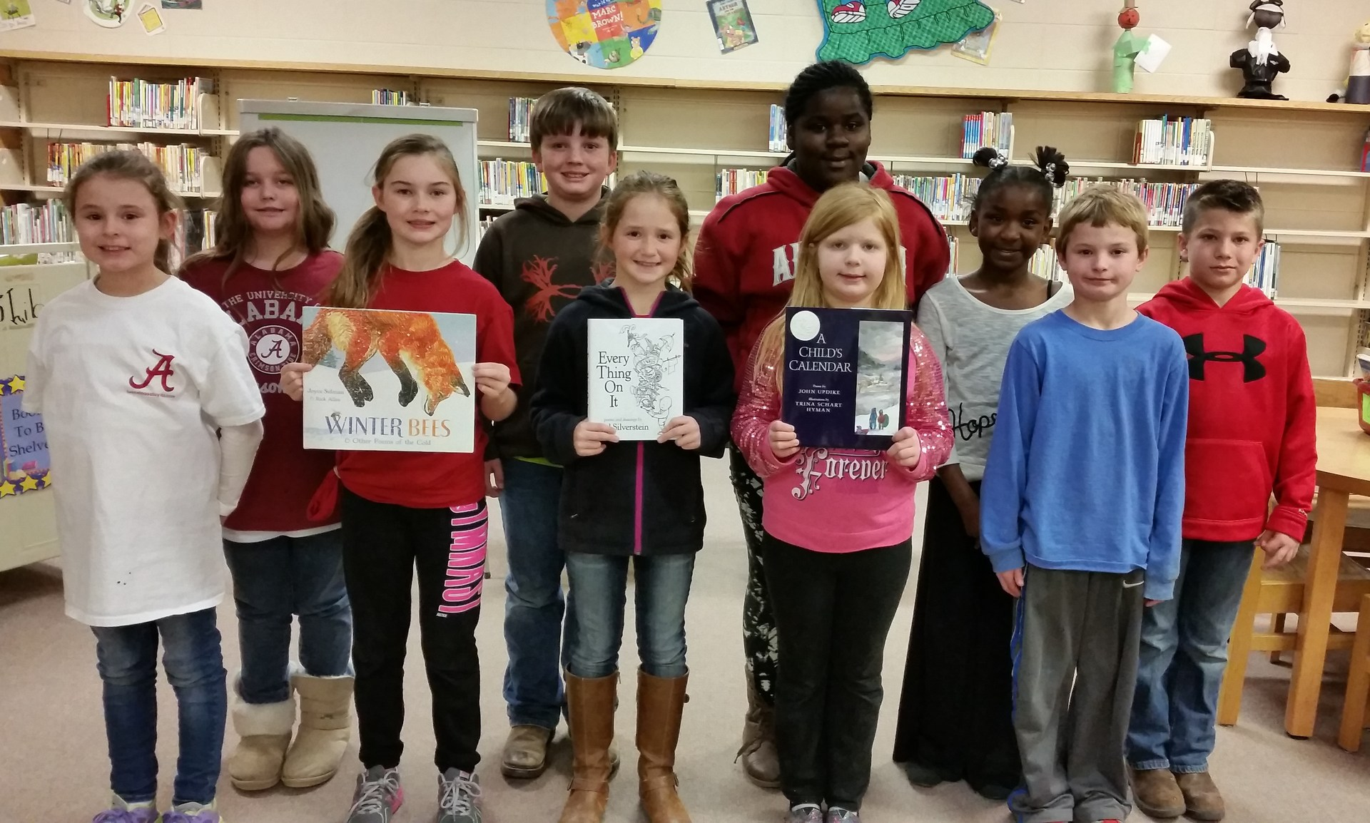 Poetry books donated in honor of former BES teacher, Karen Compere.