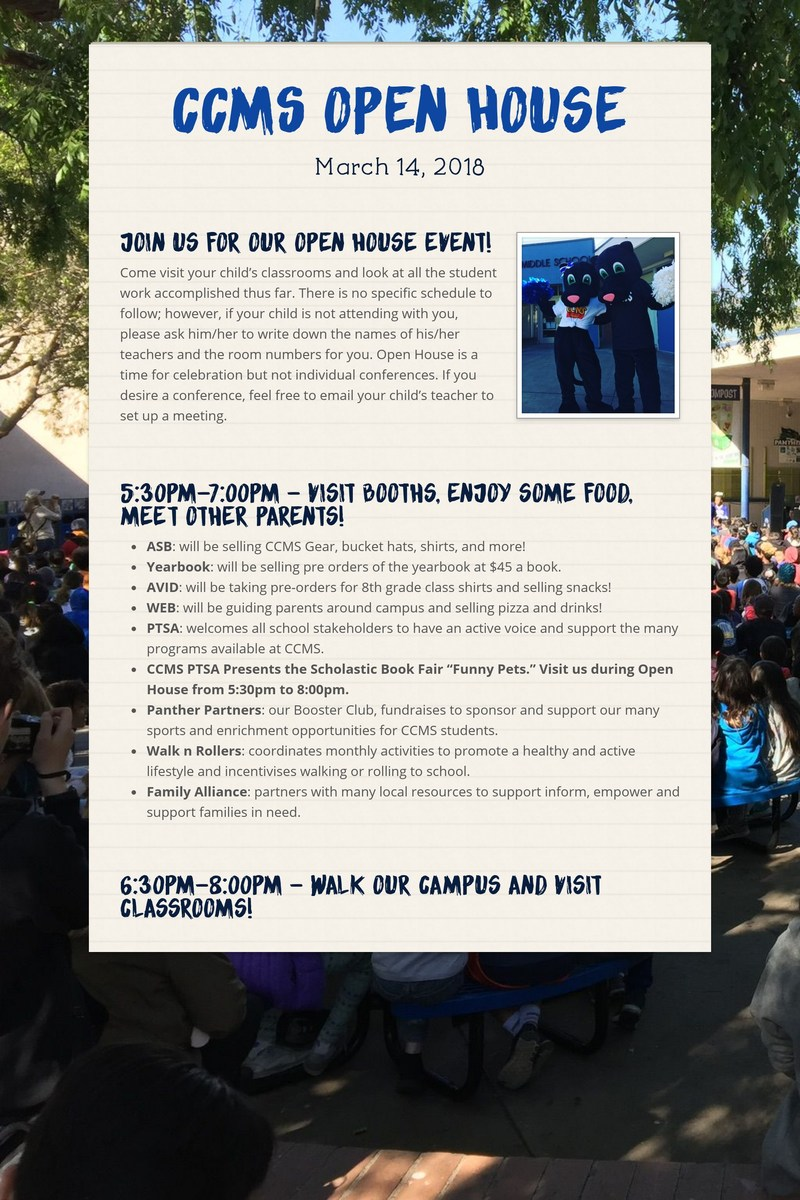 CCMS OPEN HOUSE IS MARCH 14TH! Thumbnail Image