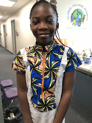 gva student in traditional african clothing from Gabon