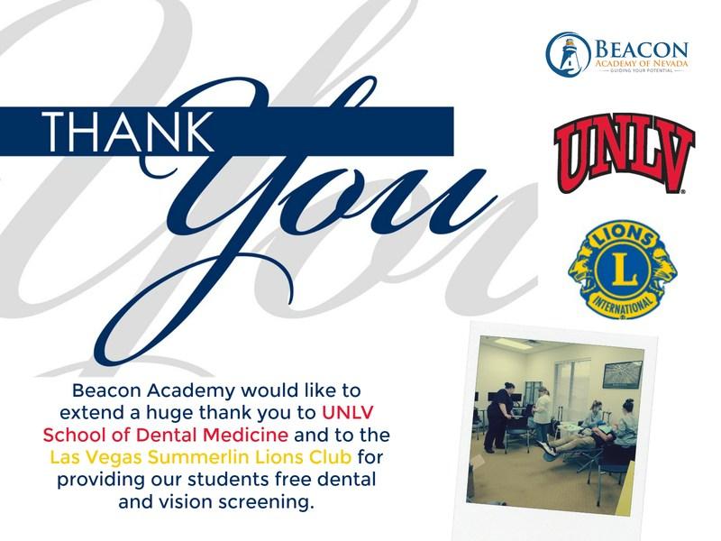 Beacon Academy Thanks UNLV and Las Vegas Summerlin Lions Club