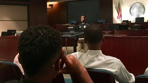 A police officer shared his career path with students.