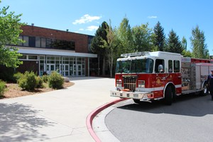 Image of Durango & Fire Rescue's fire rig in front of Durango High School