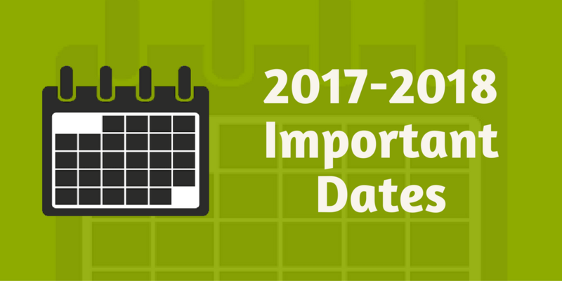 Important Dates for the 17-18 School Year Featured Photo