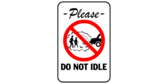 Sign with words: Please do not idle.